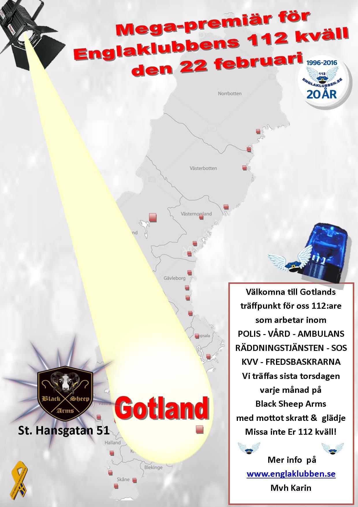 Gotland Englaklubbens 112 kväll inbjudan