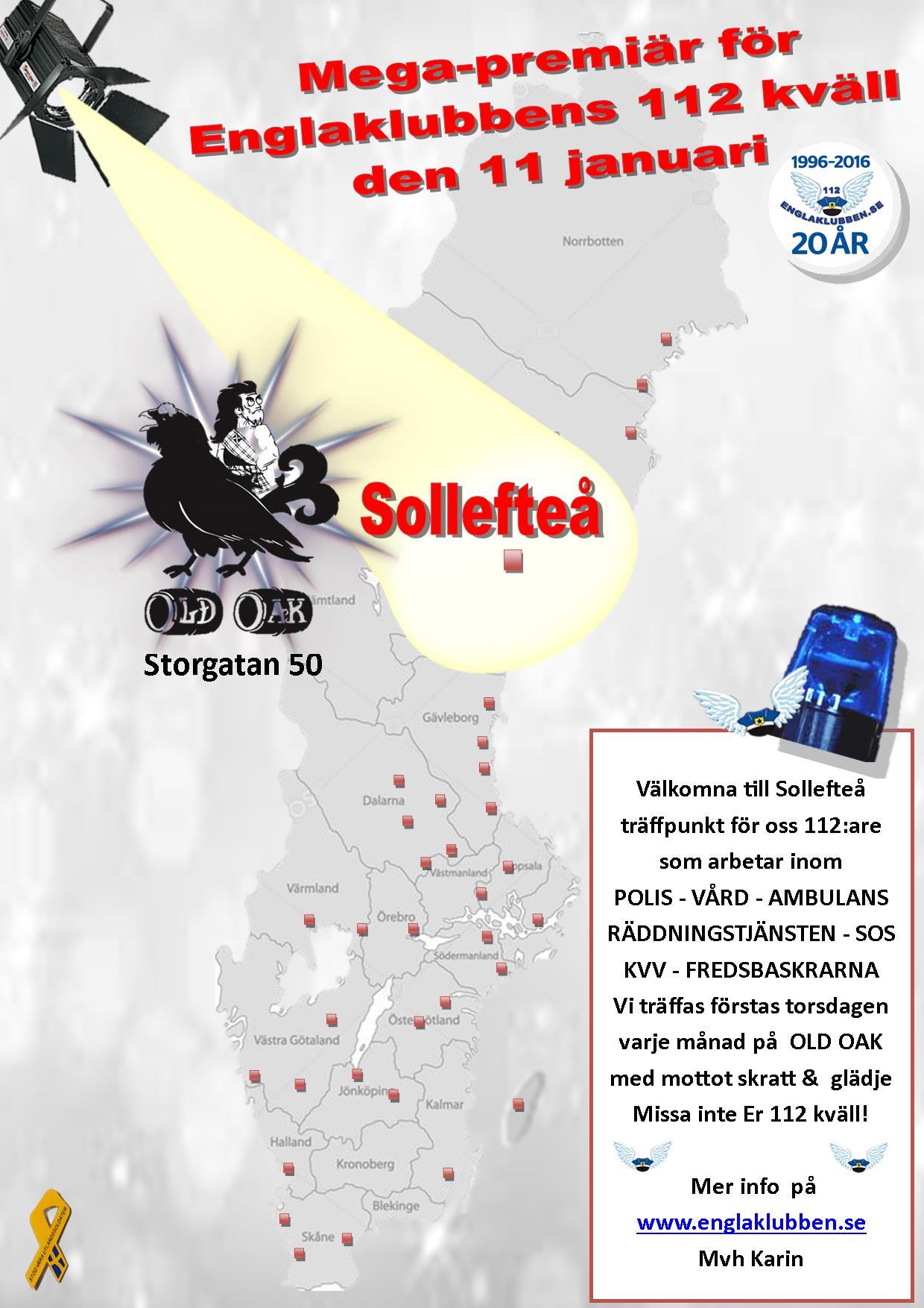 Sollefteå Englaklubbens 112 kväll inbjudan