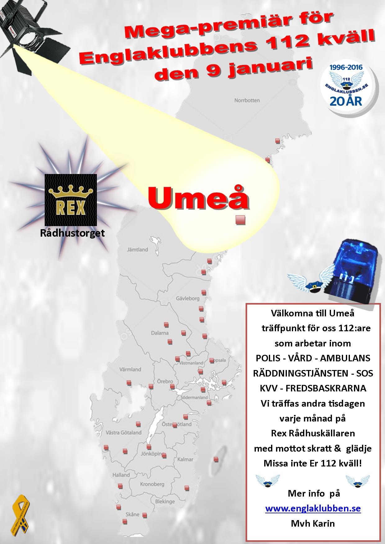 Umeå Englaklubbens 112 kväll inbjudan