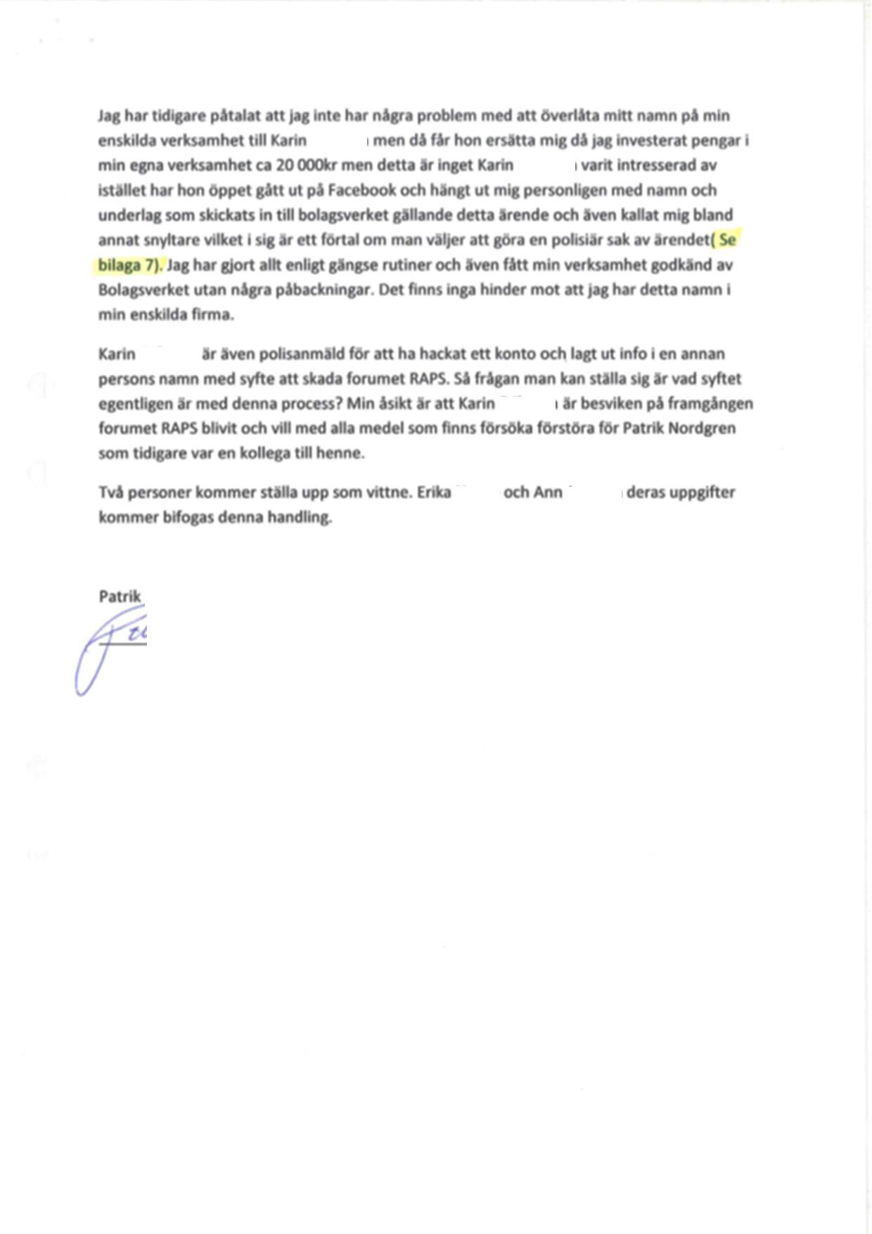 8. Patriks tredje bestridande om administrativ hävning av företagsnamnet Englaklubben (2)