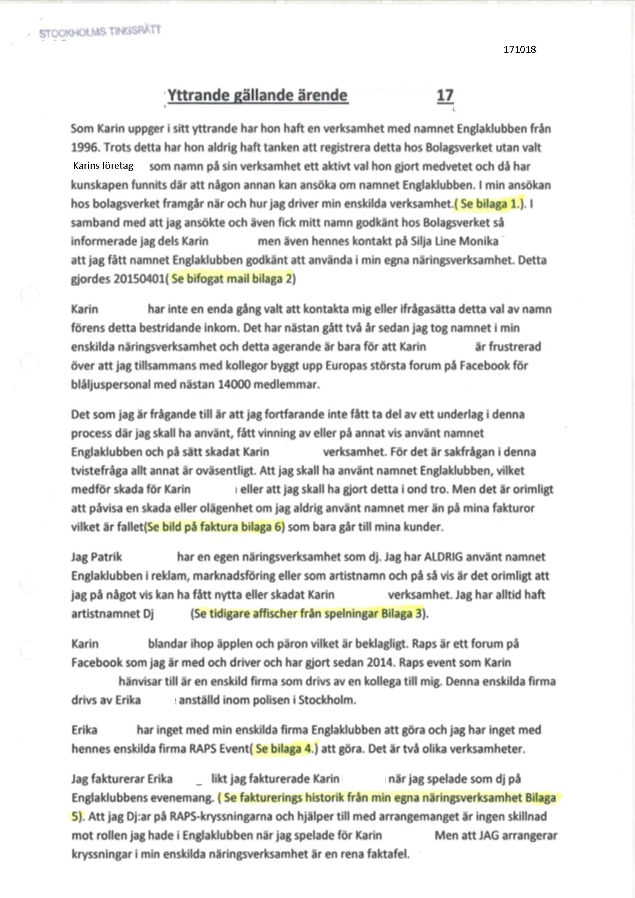 8. Patriks tredje bestridande om administrativ hävning av företagsnamnet Englaklubben